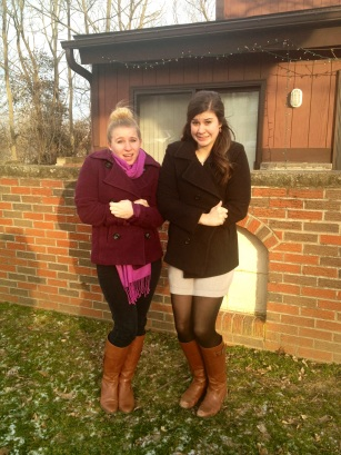 Elizabeth McCumber '13, Social Coordinator of Greek Council and a fellow Zeta, and Alex Kruse '15, recently declared MLL Major (Congratulate her!) and another fellow Zeta, remind you to bundle up in style! Peacoats are indeed a gal's BFF!