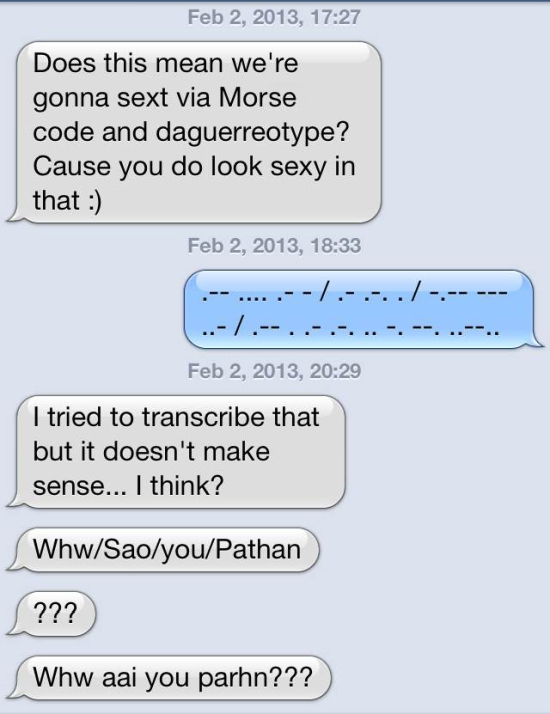 I guess we used different Morse code translators?