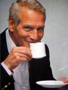 Paul Newman drinks coffee. [via http://www.redraig.co.uk/]