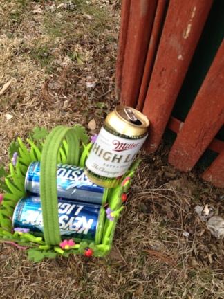 miller keystone trash can outside crozier