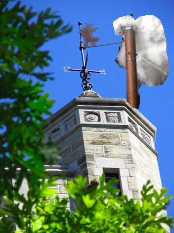 White smoke emerges from Peirce Tower to signal the election of a new president.