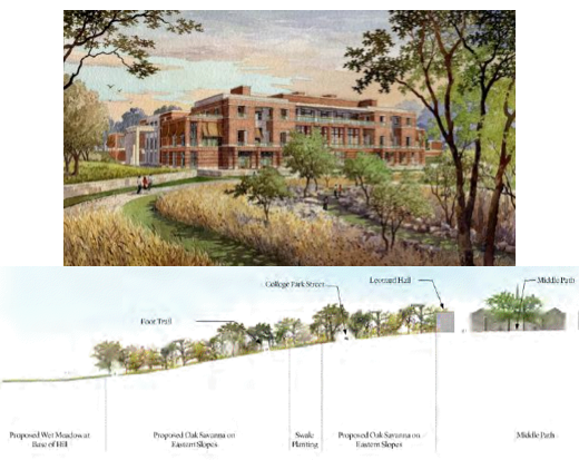 Above: the landscaping at the Bush Center. Below: a proposal drawing from the Kenyon master plan.