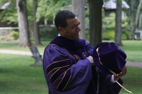 You mean I have to wear this thing? President Sean Decatur prepares for his first Opening Convocation.