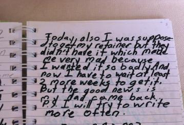 Olivia Grabar-Sage promises her journal that she will write more often.