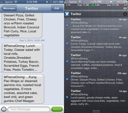 Peirce Menu via Text vs. via Twitter Notification