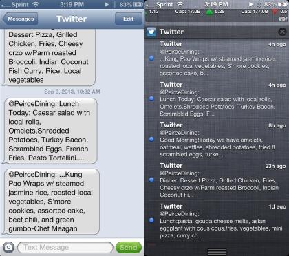 Peirce Menu via Text vs. via Twitter Notification