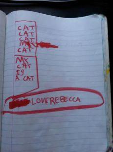 """""""CAT CAT CAT MY CAT MY CAT IS A CAT. Love, Rebecca"""""""
