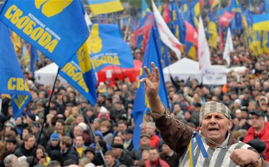Thousands have gathered in Ukraine's central square to protest the government's handling of a potential trade deal with the European Union.