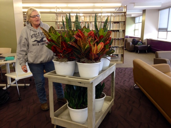 Sharon Franz and the cart of library plants.