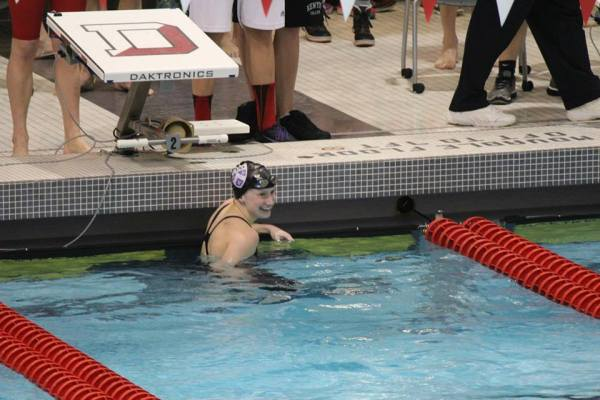 Haley Townsend '16 in the water during a meet. (via the North Coast Athletic Conference)