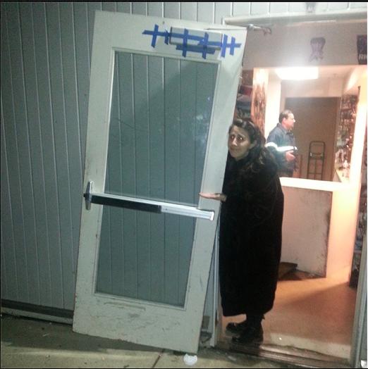 Horn Leader Rebecca Saltzman' 15 with what is left of the Horn door