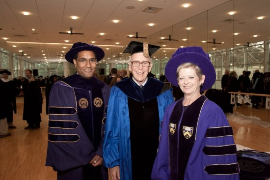 The Nuge with President Decatur and President Emeritus Philip Jordan at Decatur's inauguration. (via kenyon.edu)