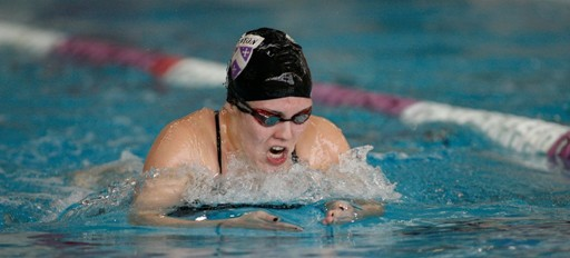 Katie Kaestner '16 swimming the breaststroke at the NCAC Swimming and Diving Championships. Kaestner had Kenyon's top individual finish on the final day of competition.