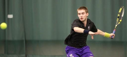 Jacob Huber '15 scores during Saturday's men's tennis match against Case Western.