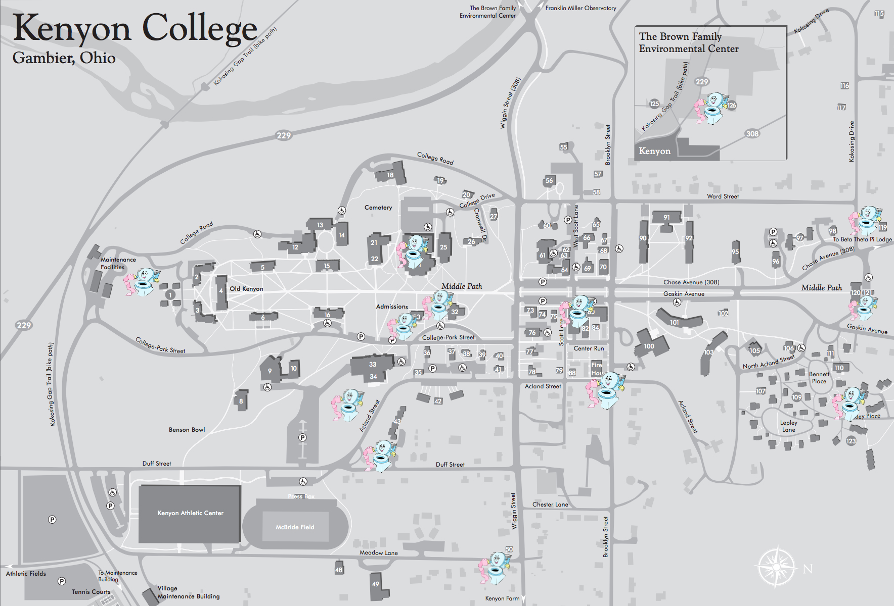Kenyon College Map Oh, The Places You'll Drop Trou: Places We've Peed On Campus « The  Kenyon College Map