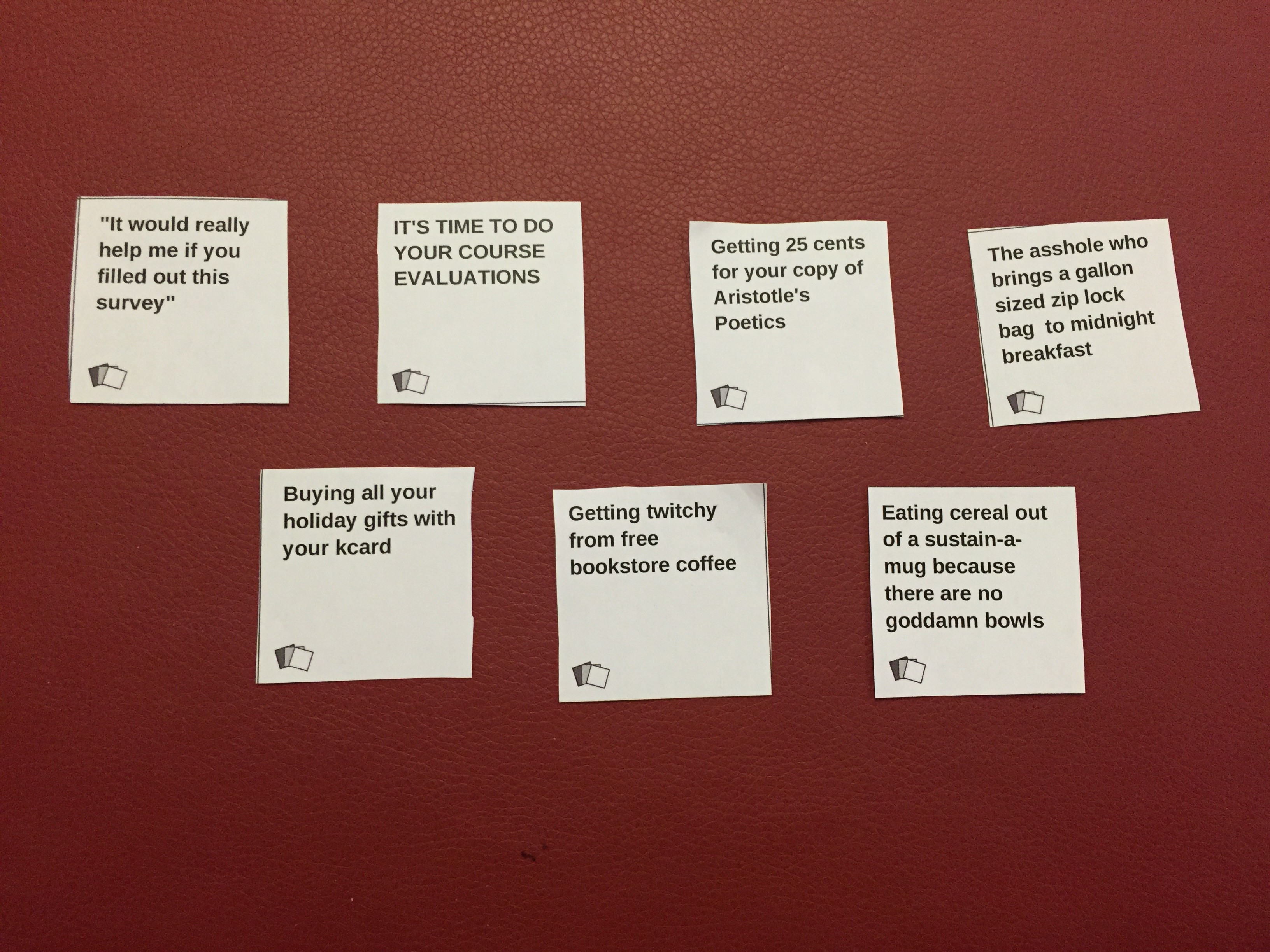 Kenyon Cards Against Humanity: Finals and Holiday Cheer Expansion ...