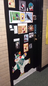 Mollie Greenberg's and my festive room door (please don't stalk us.)