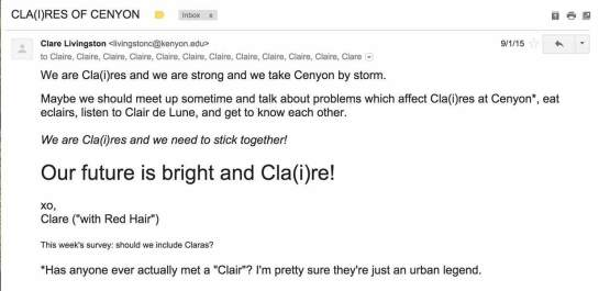Clare Livingston's email to the Cla(i)res.