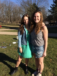 Caroline Borders '16 and Porter Morgan '18 enjoy a sunny day