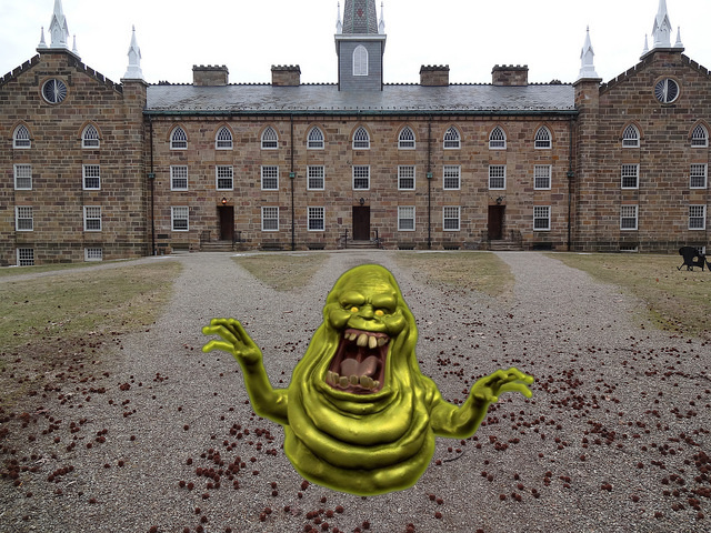 It was Slimer the whole friggin time!!! (Photo courtesy of Emma Brown '17, Slimer courtesy of Columbia Pictures)